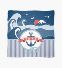 Japanese Nautical Anchor Rope Wave Mt Fuji Seagull Scarf