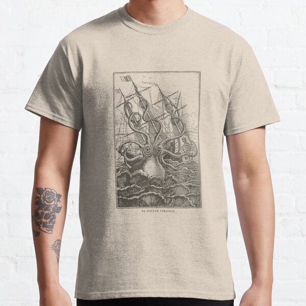 Colossal Octopus Kraken Attacking Ship Sea Monster  Classic T-Shirt