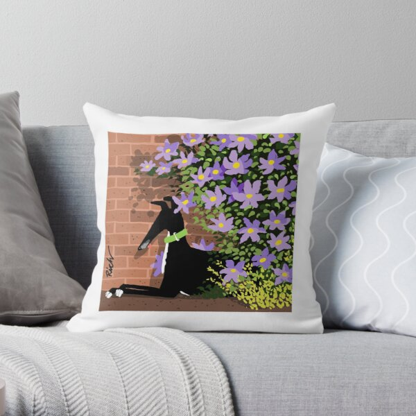 In the Shade of the Clematis Throw Pillow