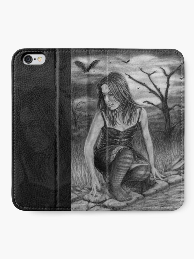 Alternate view of Nocturnal: Original drawing by Dean Sidwell iPhone Wallet