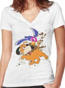 Duck Hunt Duo - Super Smash Bros Women's Fitted V-Neck T-Shirt