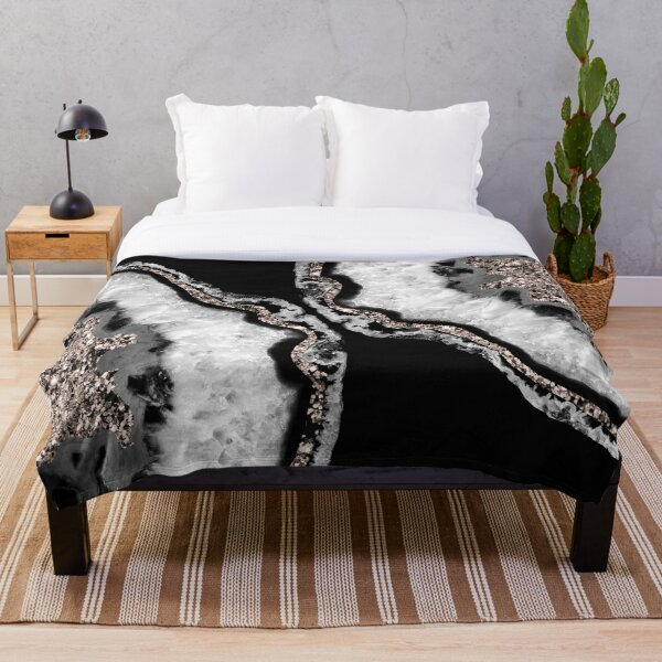 Yin Yang Agate Glitter Glam #5 (Faux Glitter) #gem #decor #art  Throw Blanket