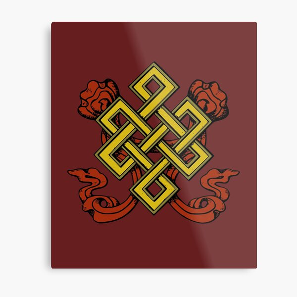 Shrivatsa Tibetan Buddhist Harmony Prosperity Symbol Knot Metal Print
