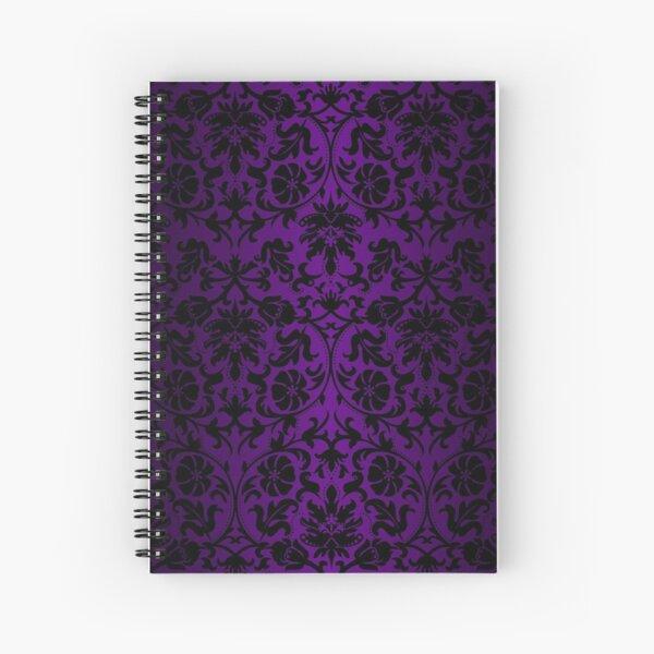 Purple and Black Damask Pattern Design Spiral Notebook