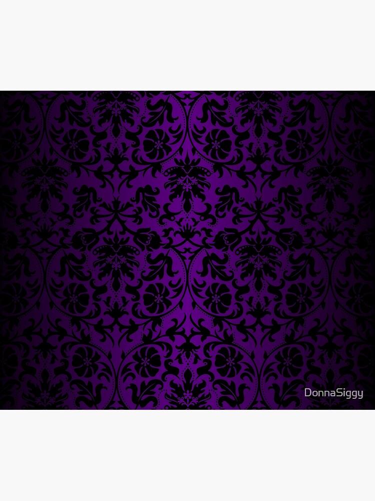 Purple and Black Damask Pattern Design by DonnaSiggy