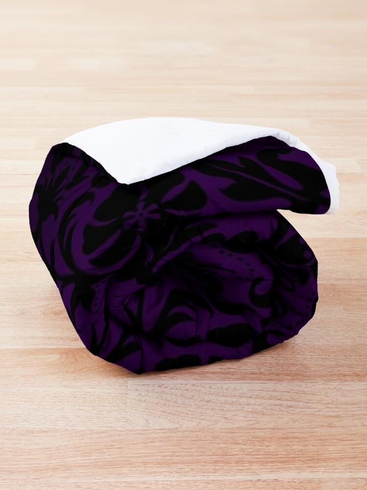Alternate view of Purple and Black Damask Pattern Design Comforter