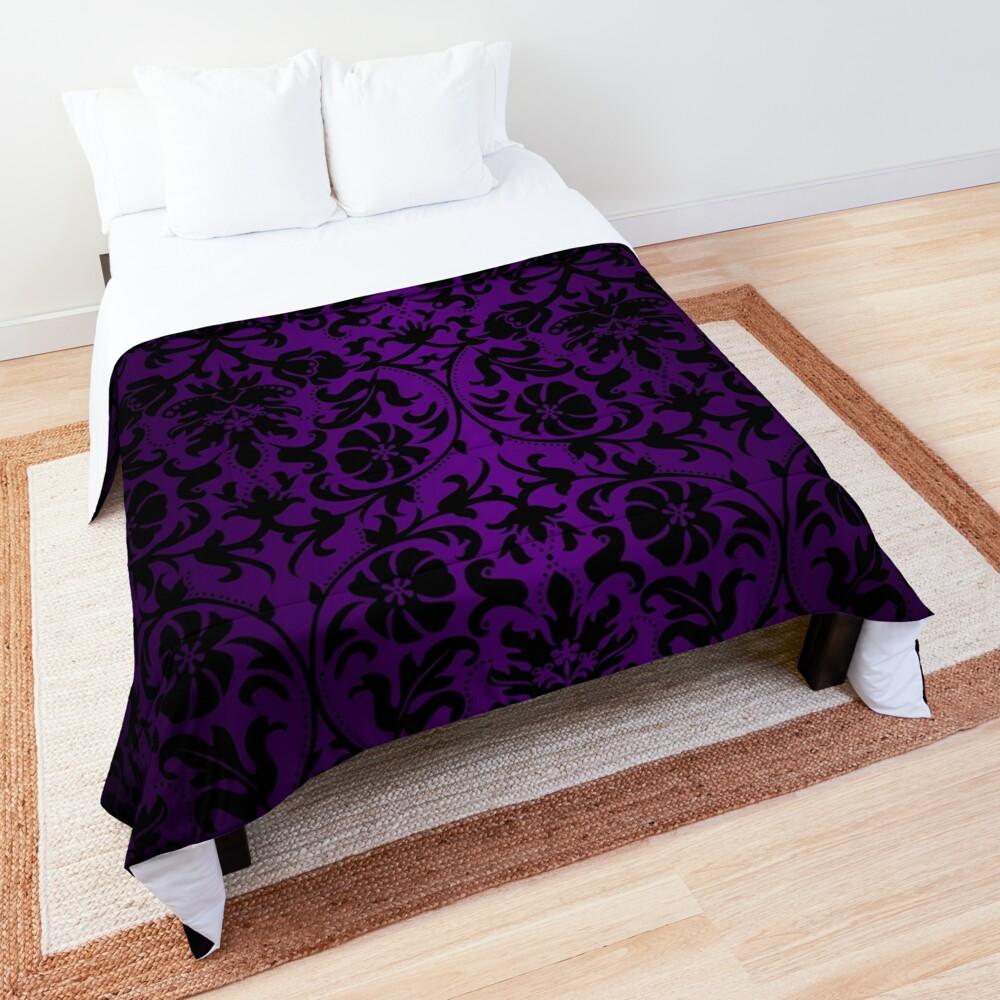 Purple and Black Damask Pattern Design Comforter