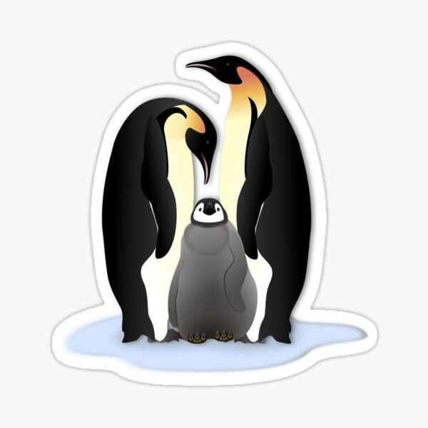 Penguin Family in Love  Sticker