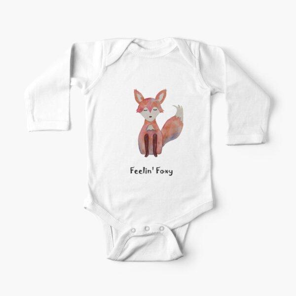 Feelin Foxy, Cute Fox, original watercolor ashleyvanart Long Sleeve Baby One-Piece