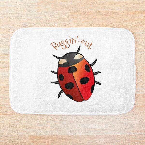 Cute Red Ladybug Buggin' Out Bath Mat