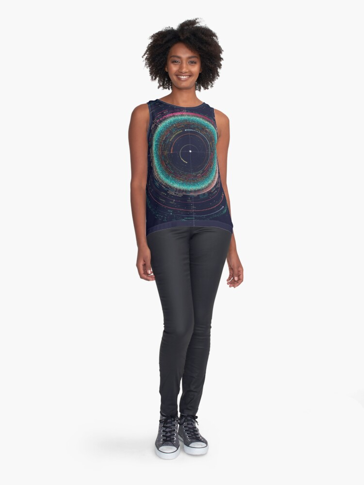 Alternate view of Asteroid Map of the Solar System Sleeveless Top