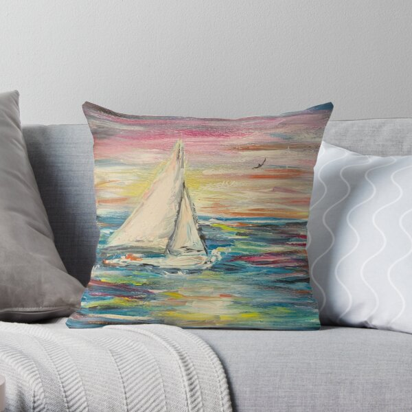 Sailing in a World of Color Throw Pillow