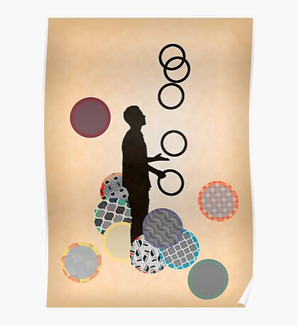 Silhouette Juggler with Props - Rings Poster
