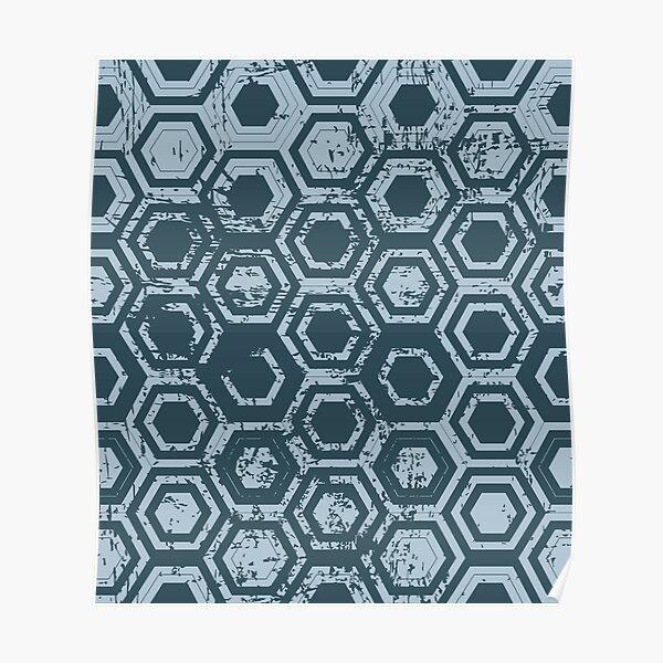 Worn hexagons | blue Poster