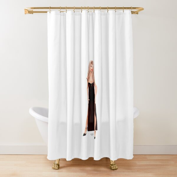 Tasha - Blondine im weinroten Samtkleid Duschvorhang