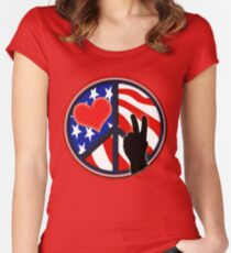 American Flag Peace Patriotic Women's Fitted Scoop T-Shirt