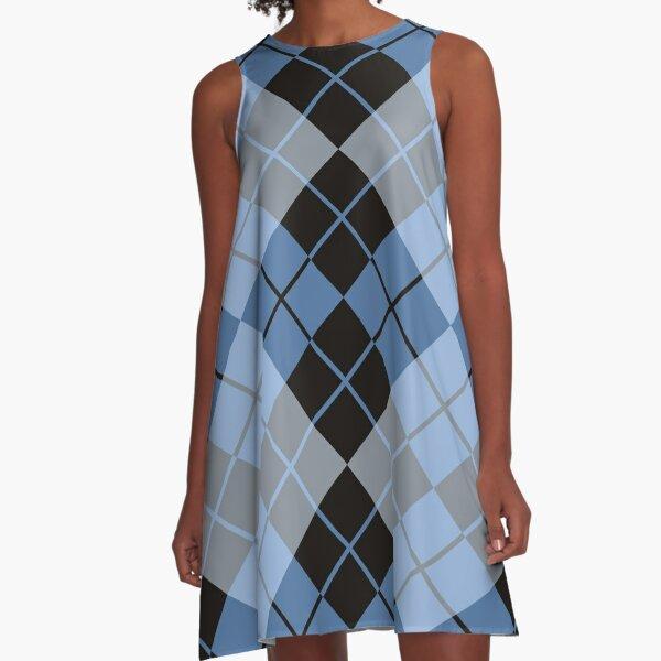 Blaue Argyle A-Linien Kleid