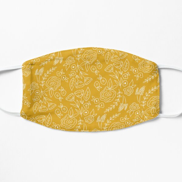 Floral Print Yellow/Mustard and White Mask