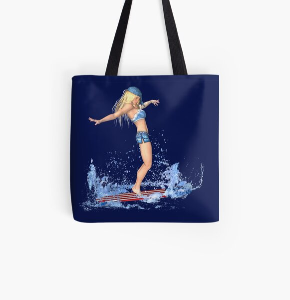 Surferin - Surfing Girl Allover-Print Tote Bag