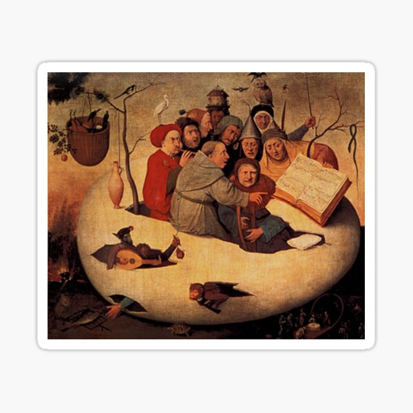 Concert in the Egg Painting by Hieronymus Bosch Sticker