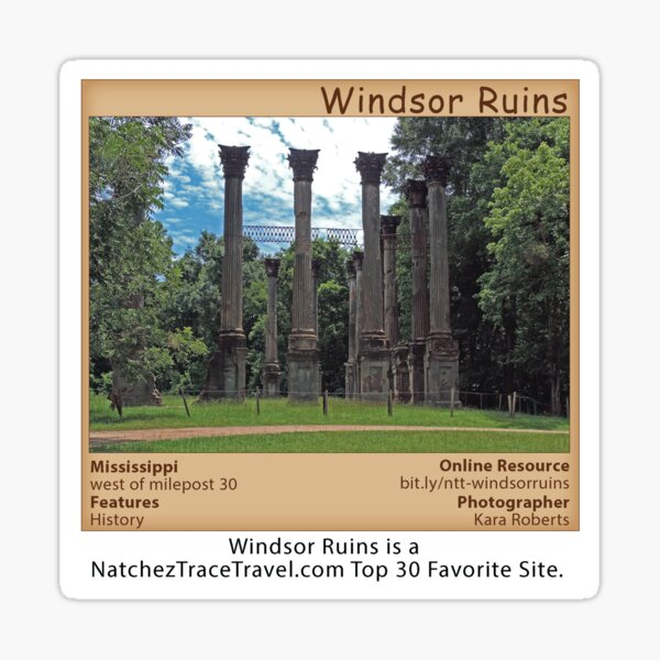 Windsor Ruins on the Natchez Trace Parkway. Sticker