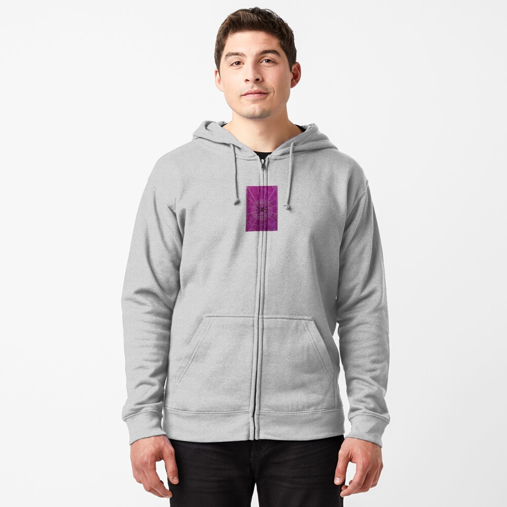 The Spiderweb Book in Pink Zipped Hoodie