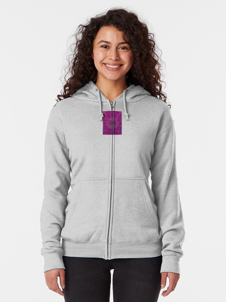 Alternate view of The Spiderweb Book in Pink Zipped Hoodie
