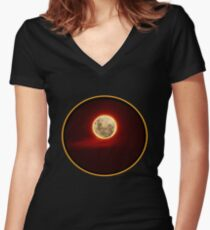 Red Moon with cloud Women's Fitted V-Neck T-Shirt