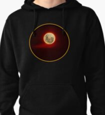 Red Moon with cloud Pullover Hoodie