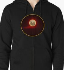 Red Moon with cloud Zipped Hoodie