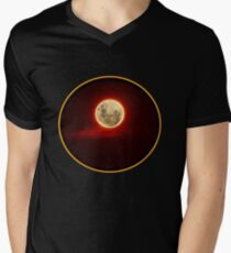 Red Moon with cloud Men's V-Neck T-Shirt