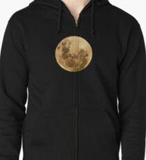 Moon on the man Zipped Hoodie