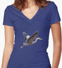 Great Blue Heron Women's Fitted V-Neck T-Shirt