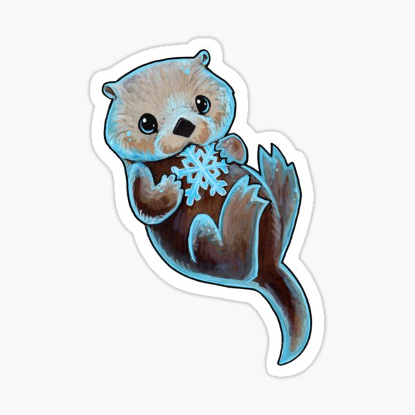 Snowy otter Sticker