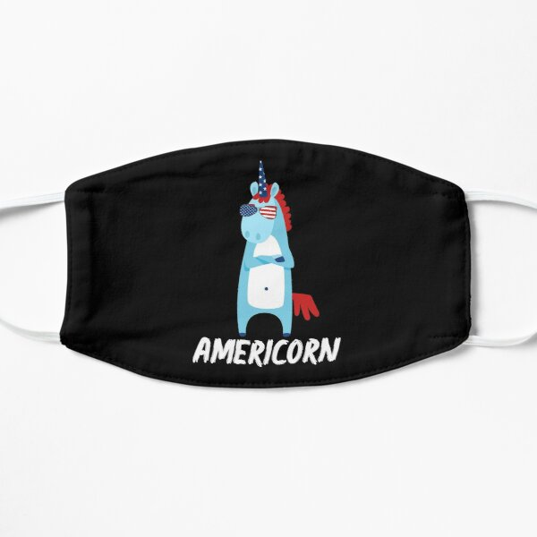 Americorn Cool Unicorn In Sunglasses American Flag Design 4th July National Holiday Proud Gift Graphic  Flat Mask