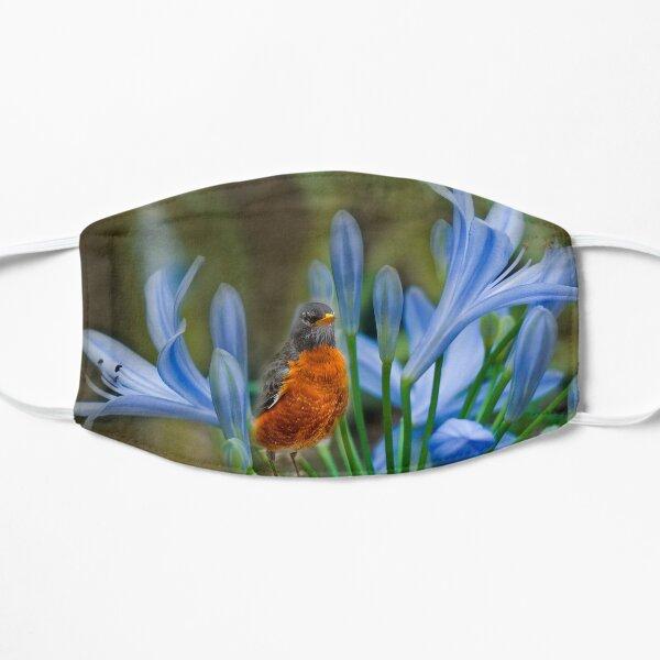 Robin in flowers Flat Mask