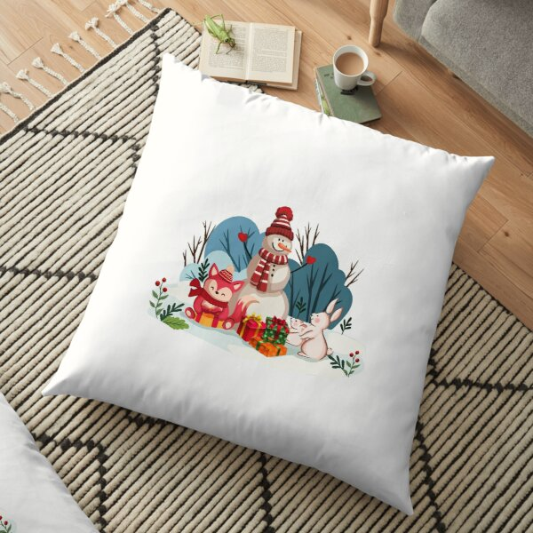 Christmas Snowman And His Furry Friends-White Christmas™ Floor Pillow