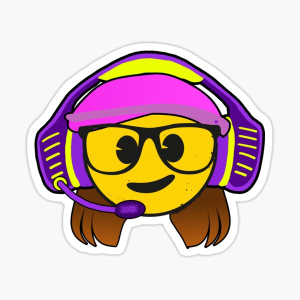 Gamer Girl emoji with a Funny Gaming Headset Sticker