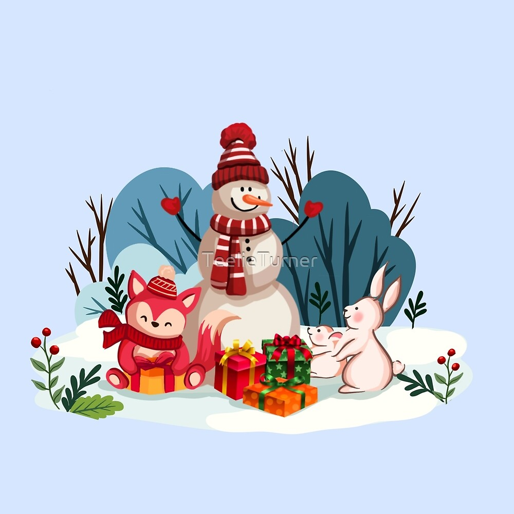 Christmas Snowman And His Furry Friends™ by TeelieTurner