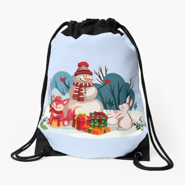 Christmas Snowman And His Furry Friends™ Drawstring Bag