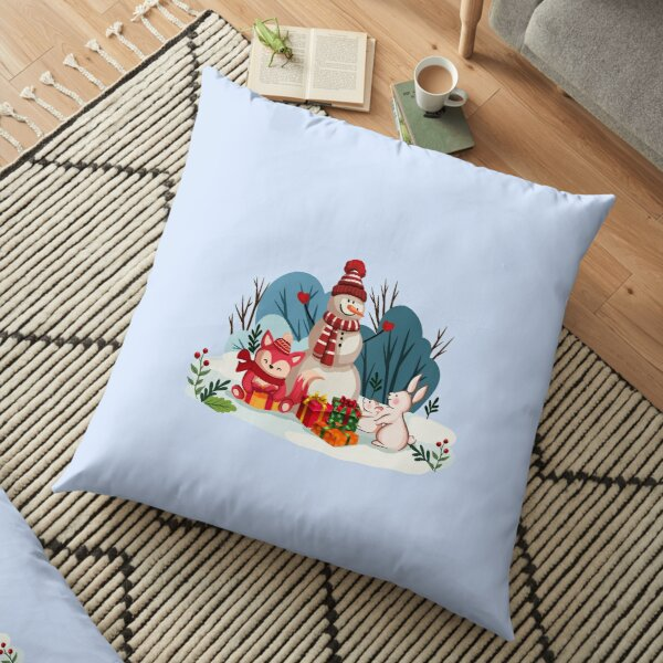 Christmas Snowman And His Furry Friends™ Floor Pillow