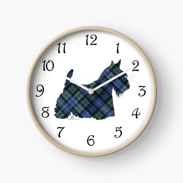 Scottish Terrier Black Watch Tartan Clock