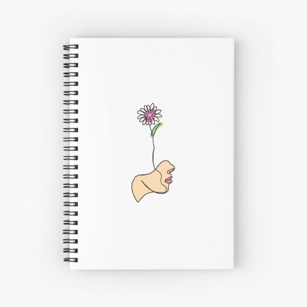 One-line Simple Face with Daisy Spiral Notebook