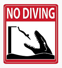 No Diving - Mosasaurus Warning Photographic Print