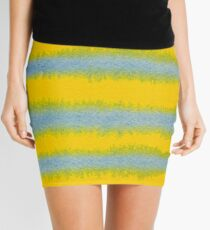 Abstract Hand-Painted Watercolor Stripes Blue Yellow Mini Skirt