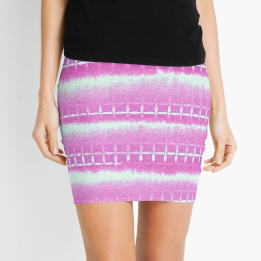 Hand-Painted Pink Watercolor Layers with Square Pattern Mini Skirt