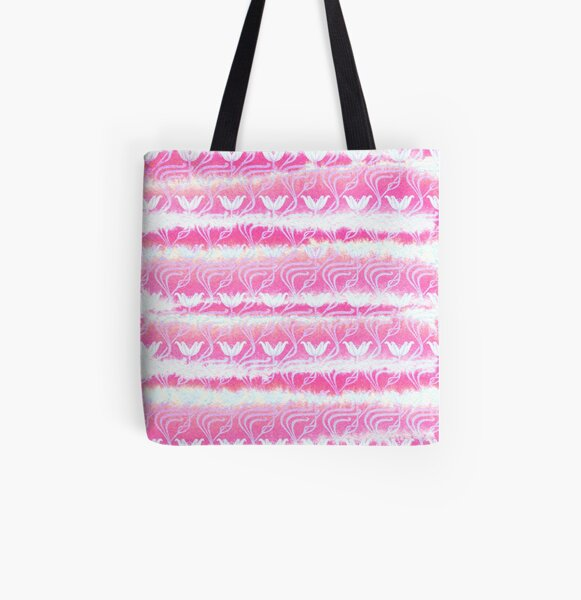 Hand-Painted Pink Watercolor Girly Waterlilies Pattern All Over Print Tote Bag