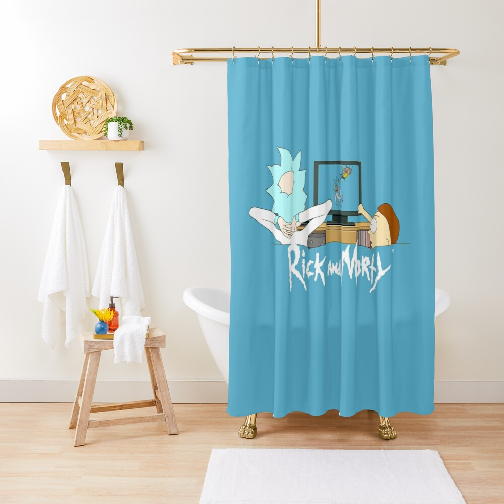 Rick and Morty - Watching TV Shower Curtain