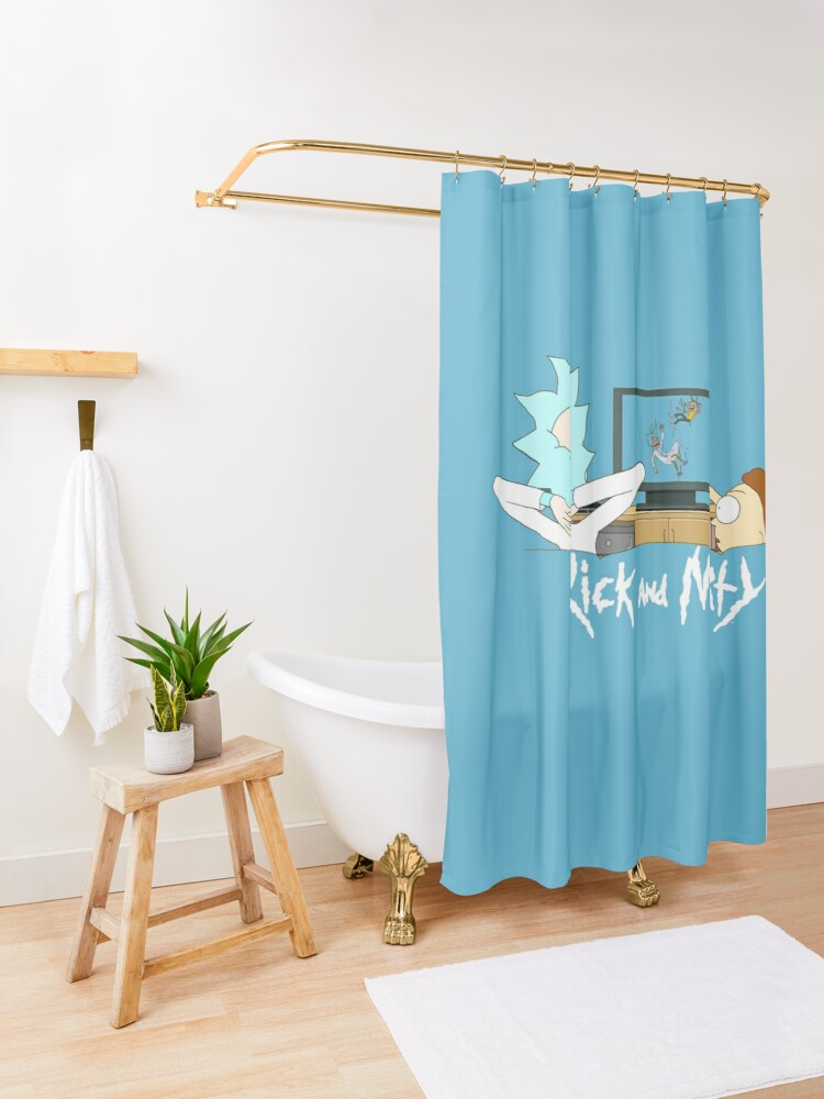 Alternate view of Rick and Morty - Watching TV Shower Curtain
