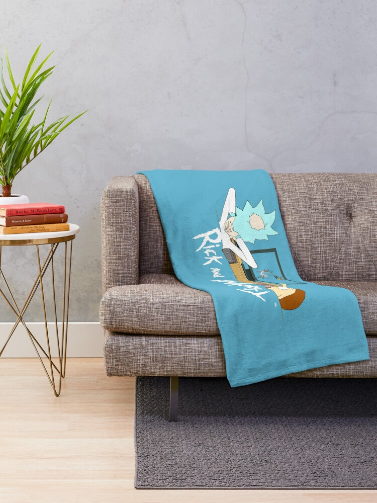 Alternate view of Rick and Morty - Watching TV Throw Blanket